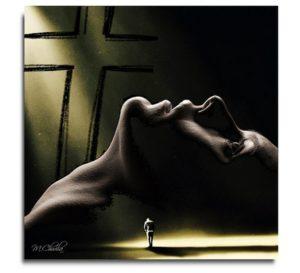 Małgorzata Chwiła - kolaż na podstawie sztuki Ten pusty krzyż